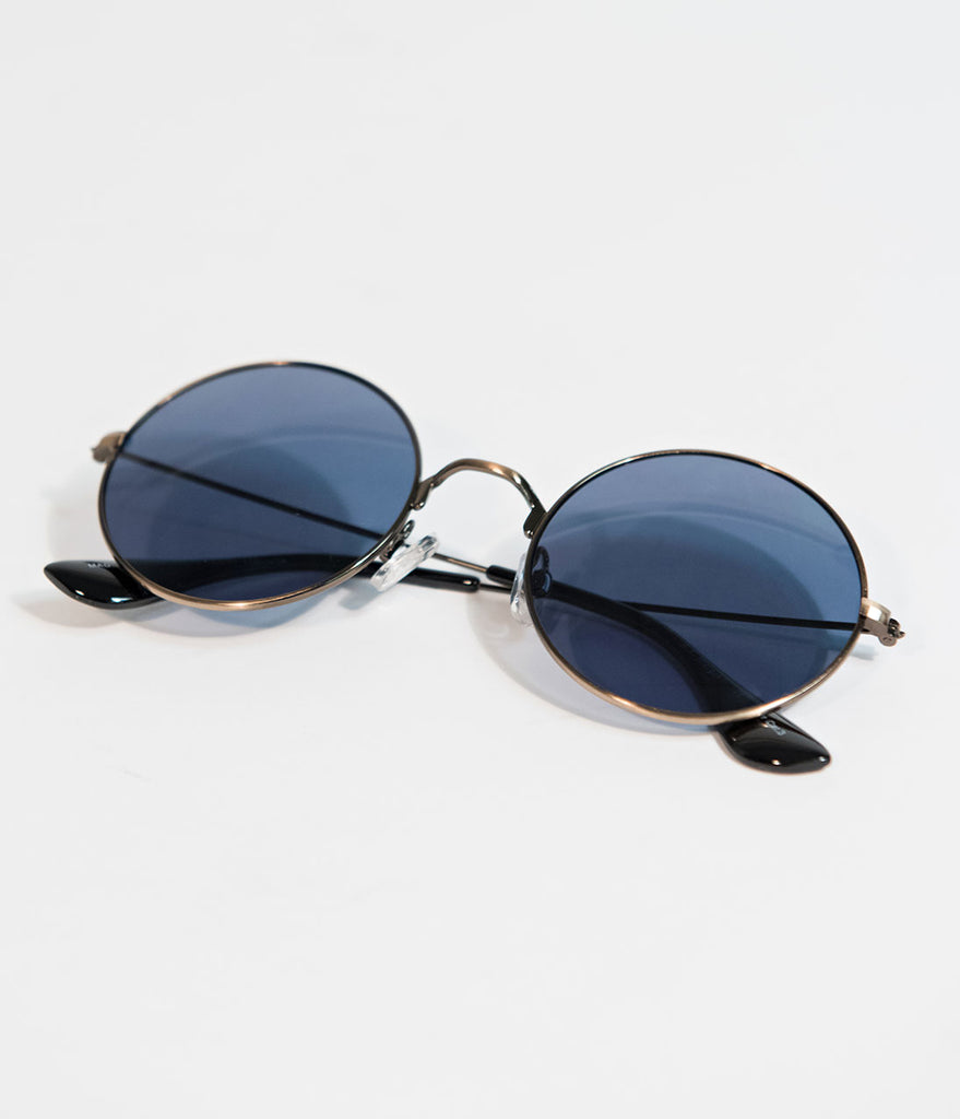 Bronze Metal Round Sunglasses