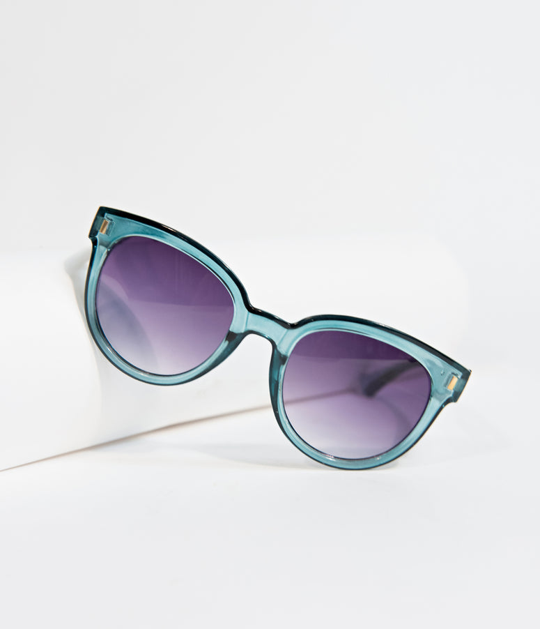 Crystal Teal Defined Cat Eye Sunglasses