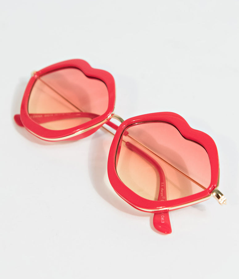 Retro Style Red Lip Metal Frame Sunglasses