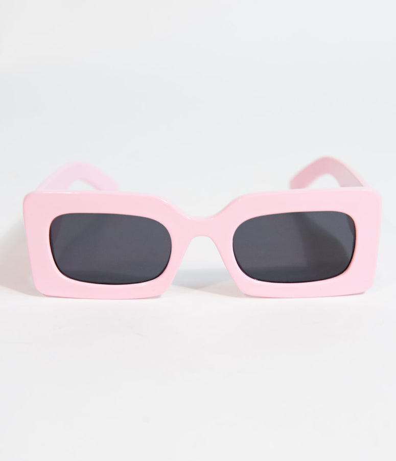Retro Style Light Pink Rectangle TV Sunglasses