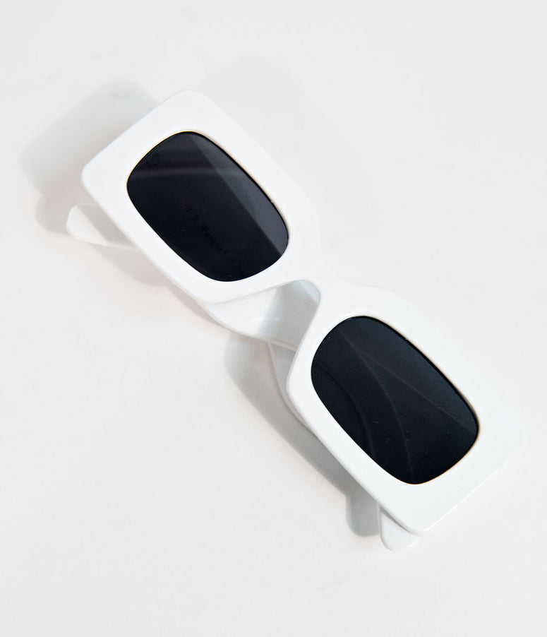 Retro Style White Rectangle TV Sunglasses