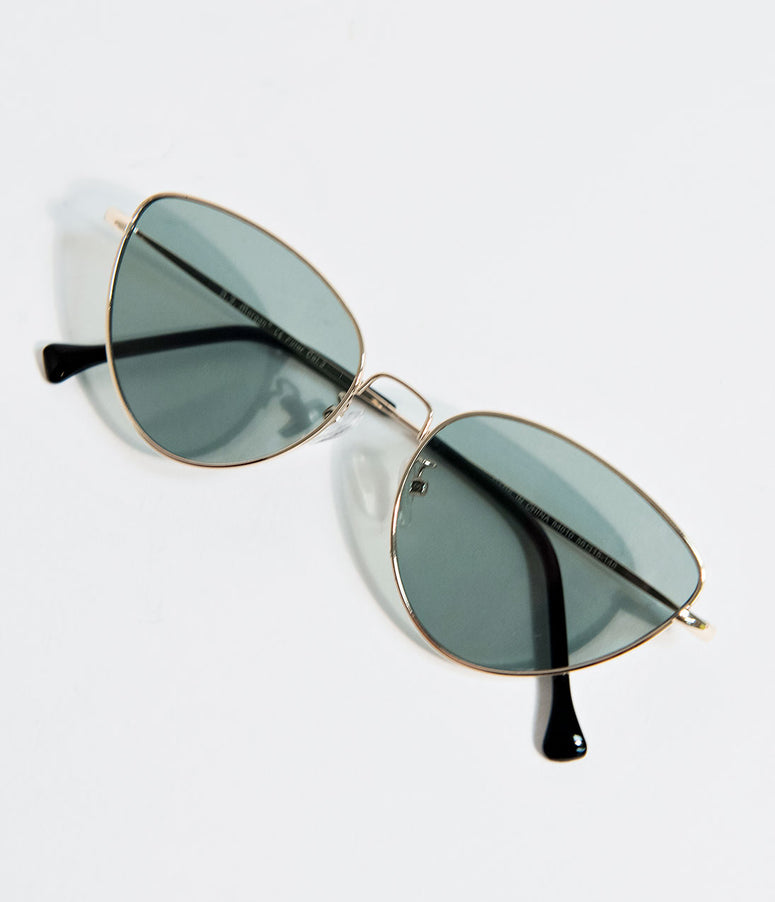 Retro Style Gold & Green Sweet Surrender Cat Eye Sunglasses