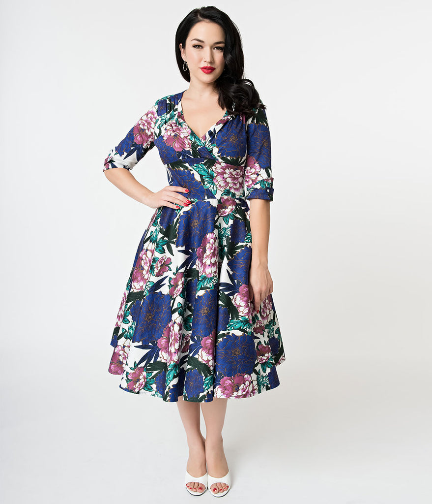 Unique Vintage 1950s White & Blooming Floral Print Delores Swing Dress with Sleeves
