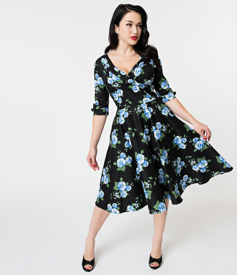 Unique Vintage 1950s Black & Blue Rose Floral Print Delores Swing Dress with Sleeves