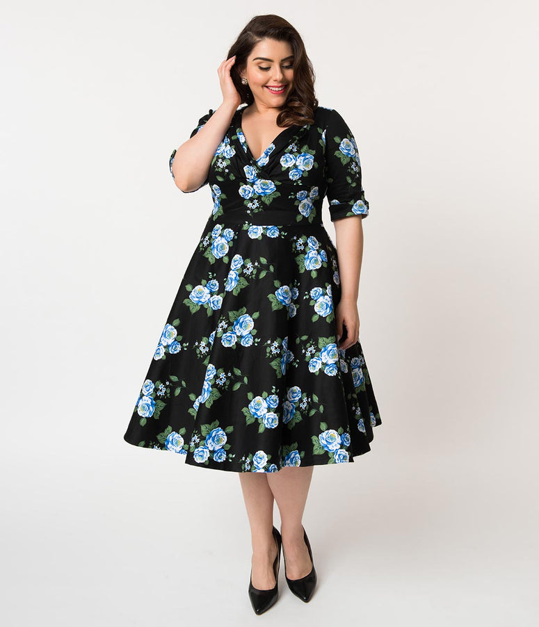 Unique Vintage Plus Size 1950s Black & Blue Rose Floral Print Delores Swing Dress with Sleeves