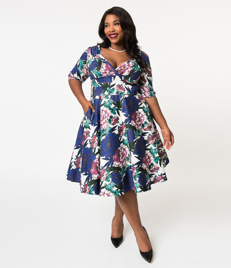 Unique Vintage Plus Size 1950s White & Blooming Floral Print Delores Swing Dress with Sleeves