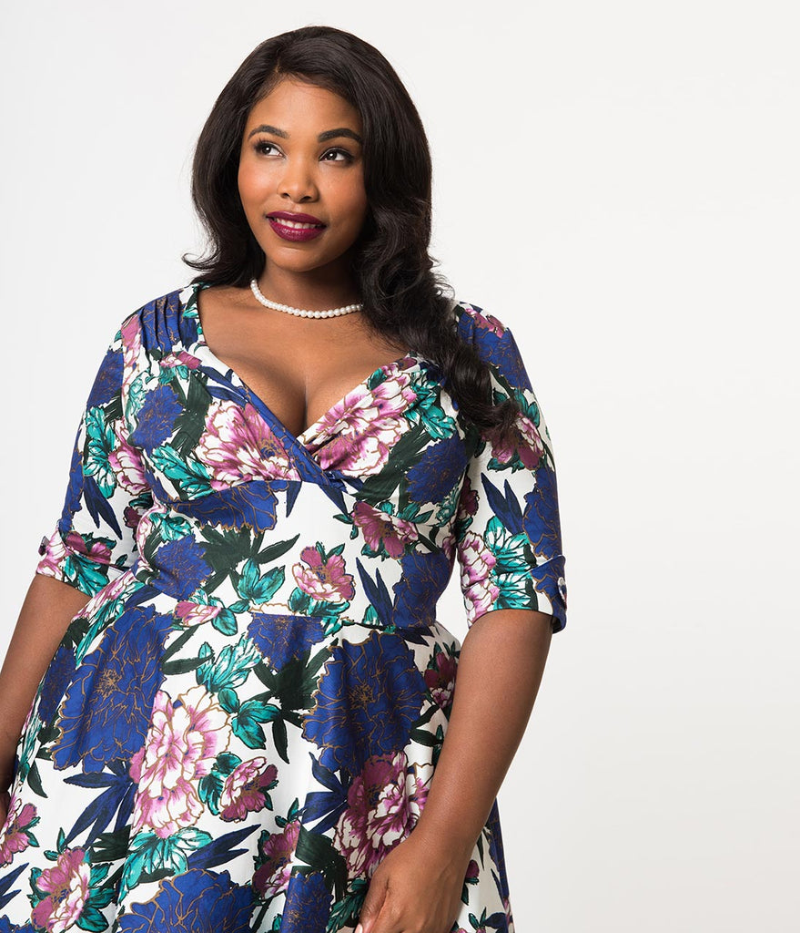 6613cf95cc ... Unique Vintage Plus Size 1950s White & Blooming Floral Print Delores  Swing Dress with Sleeves ...