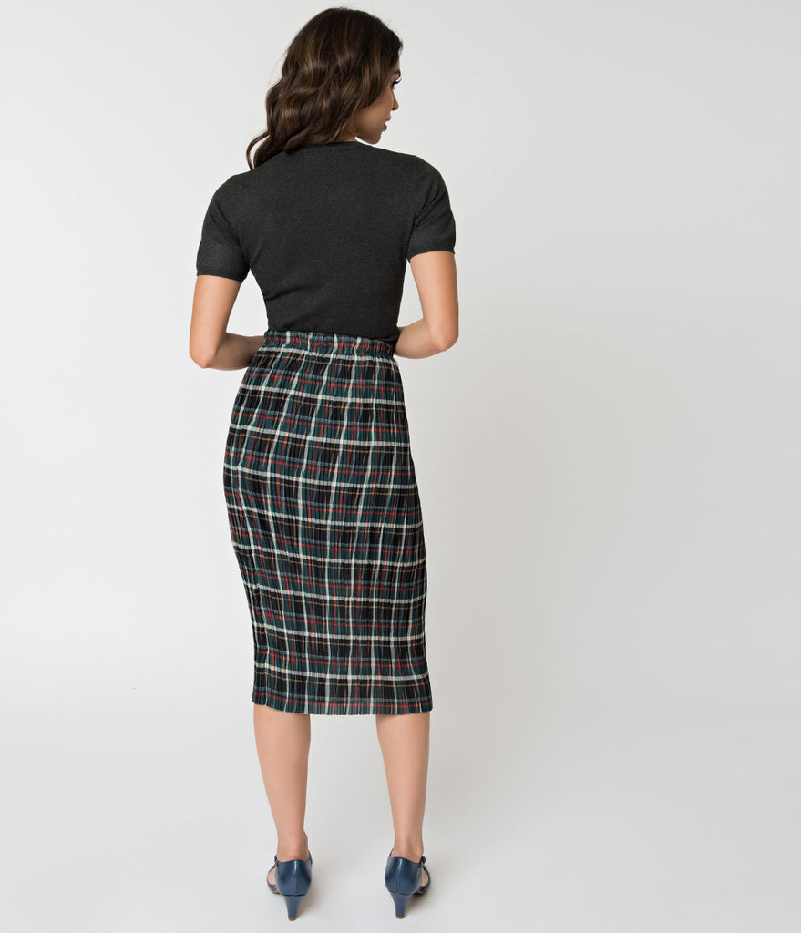 Multi Color Plaid Crinkled High Waisted Pencil Skirt