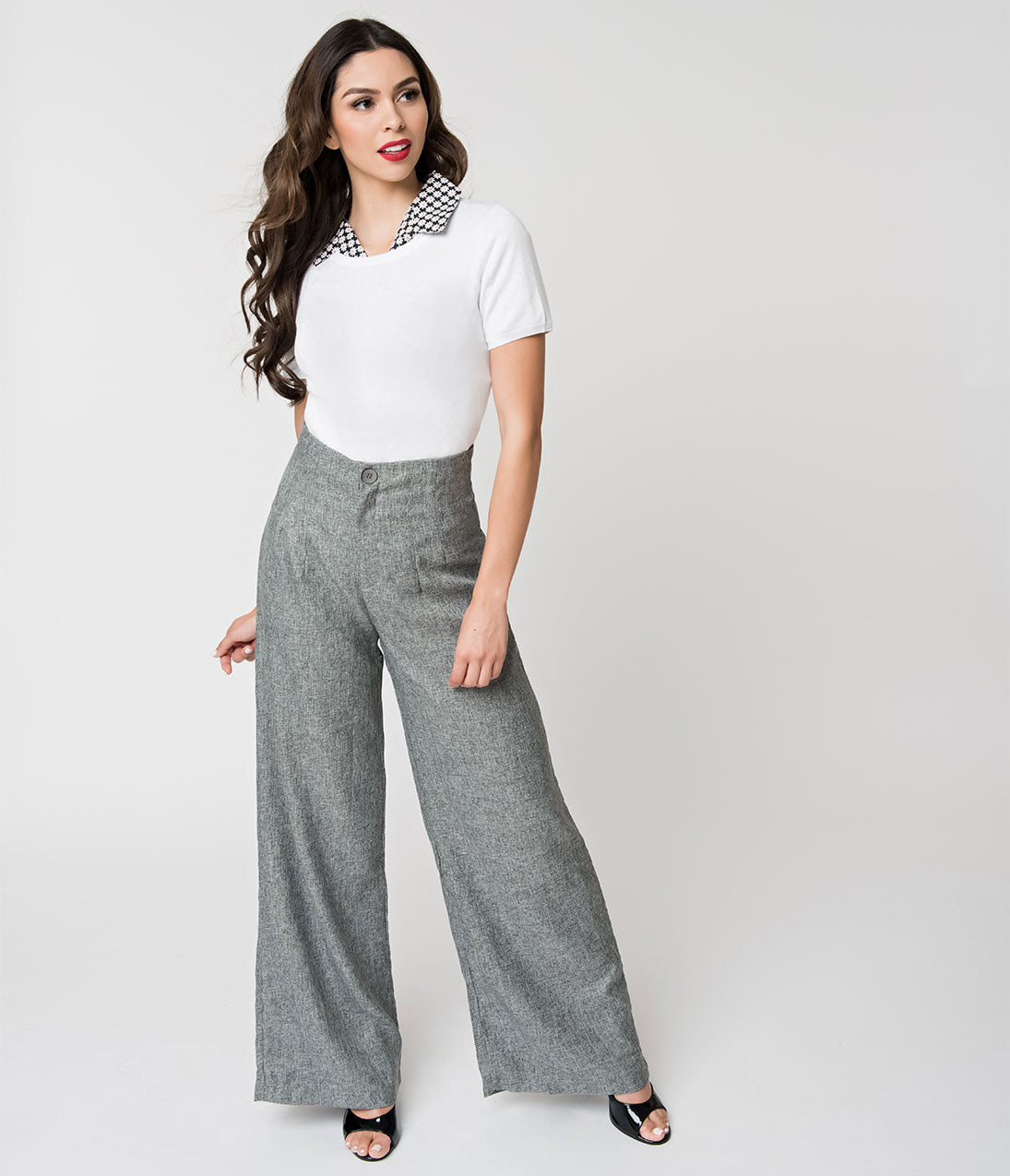 1940s Swing Pants & Sailor Trousers- Wide Leg, High Waist Retro Style Charcoal Grey High Waist Wide Leg Pants $42.00 AT vintagedancer.com