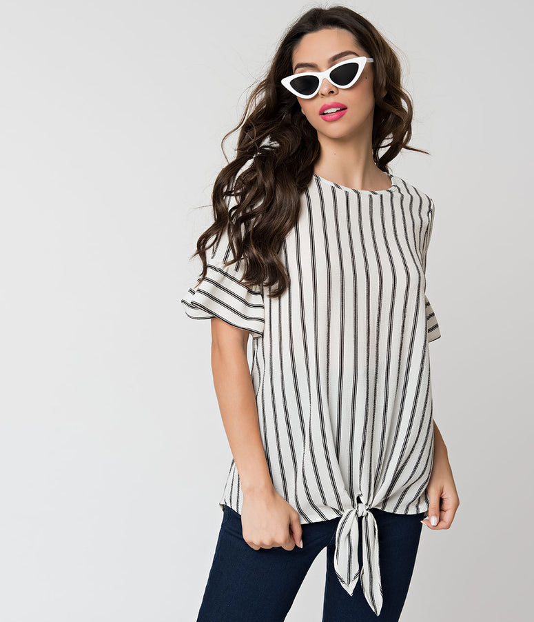 Black & White Stripe Woven Sleeved Blouse