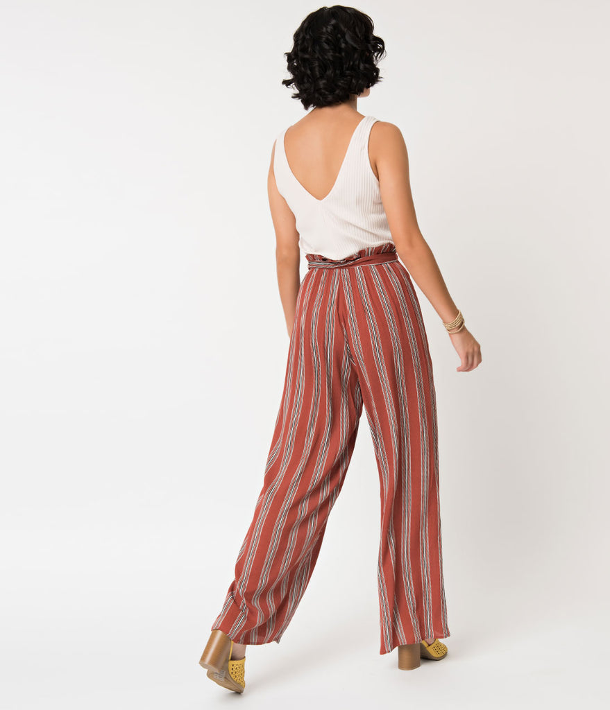 Ivory & Brick Striped Wide Legged Jumpsuit