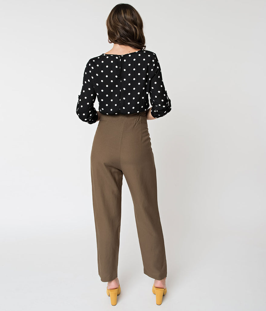 Olive High Waisted Pleated Crop Trousers with Buttons