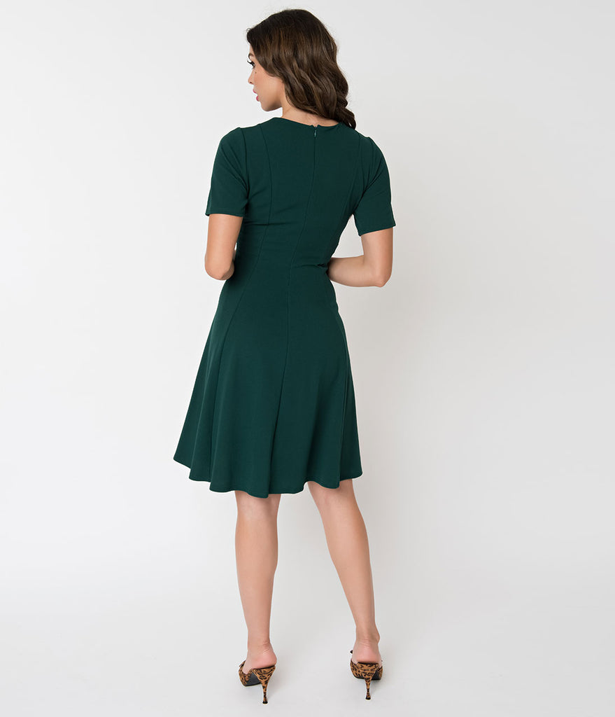 Retro Style Hunter Green Knit Sleeved Fit and Flare Dress