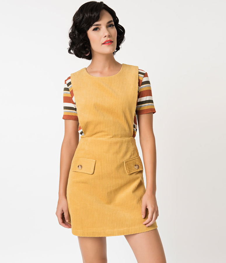 1960s Style Yellow Mustard Corduroy Casual Dress