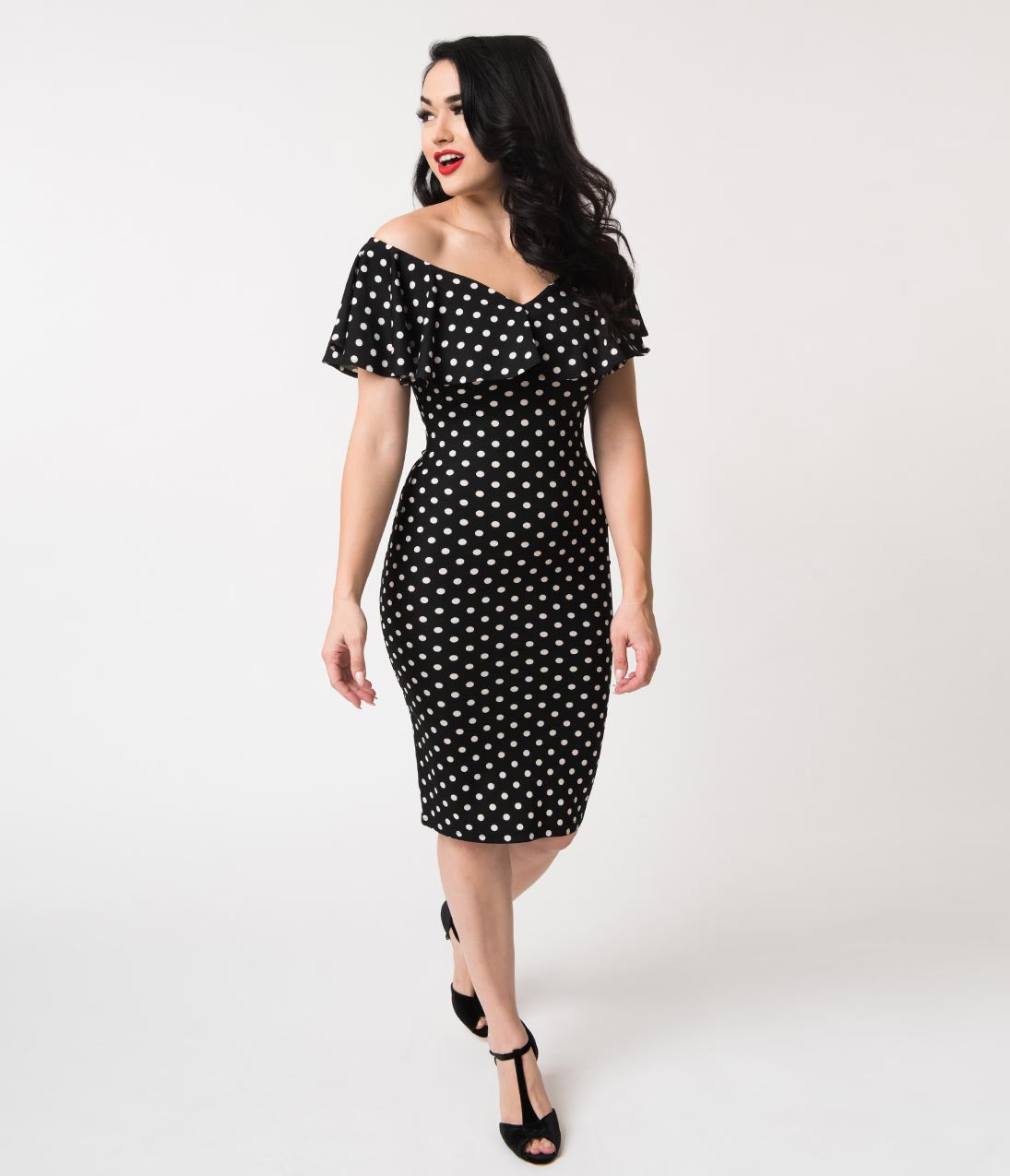 a4c5efeeb34 Vintage Polka Dot Dresses – 50s Spotty and Ditsy Prints Unique Vintage  Black White Polka Dot