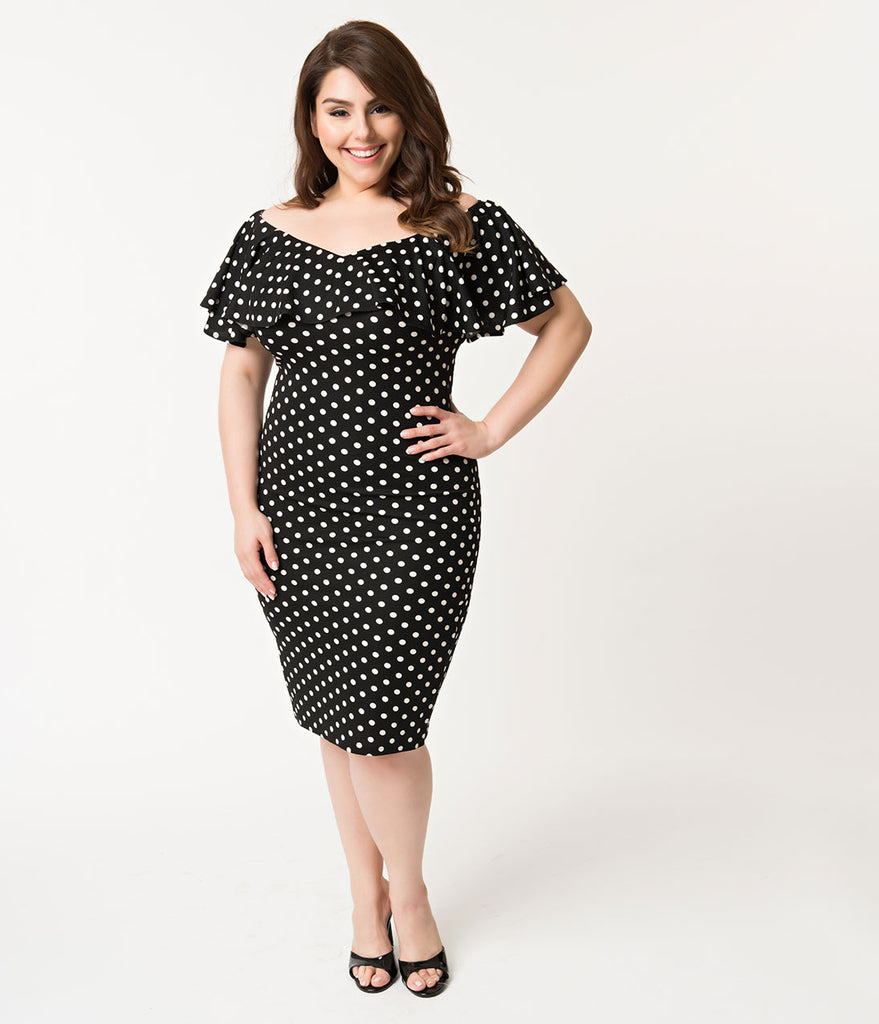 Unique Vintage Plus Size Black & White Polka Dot Ruffle Sophia Wiggle Dress