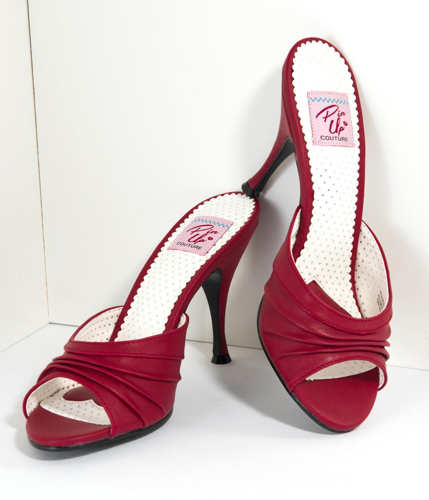 Retro Style Red Leatherette Peep Toe Pleated Mule Heels