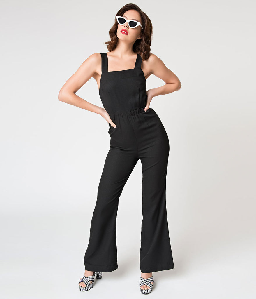 Vintage Overalls 1910s -1950s Pictures and History Retro Style Black Tie Open Back Jumpsuit $42.00 AT vintagedancer.com