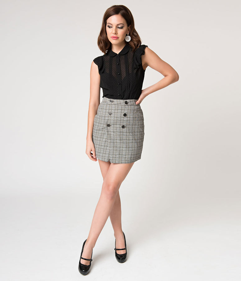 Retro Style Grey Glen Plaid Double Button Mini Skirt