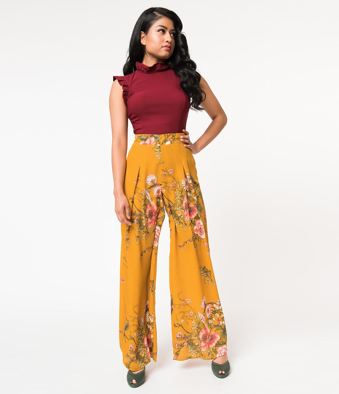 Vintage High Waisted Trousers, Sailor Pants, Jeans Mustard Yellow  Pink Floral Print High Rise Palazzo Pants $46.00 AT vintagedancer.com