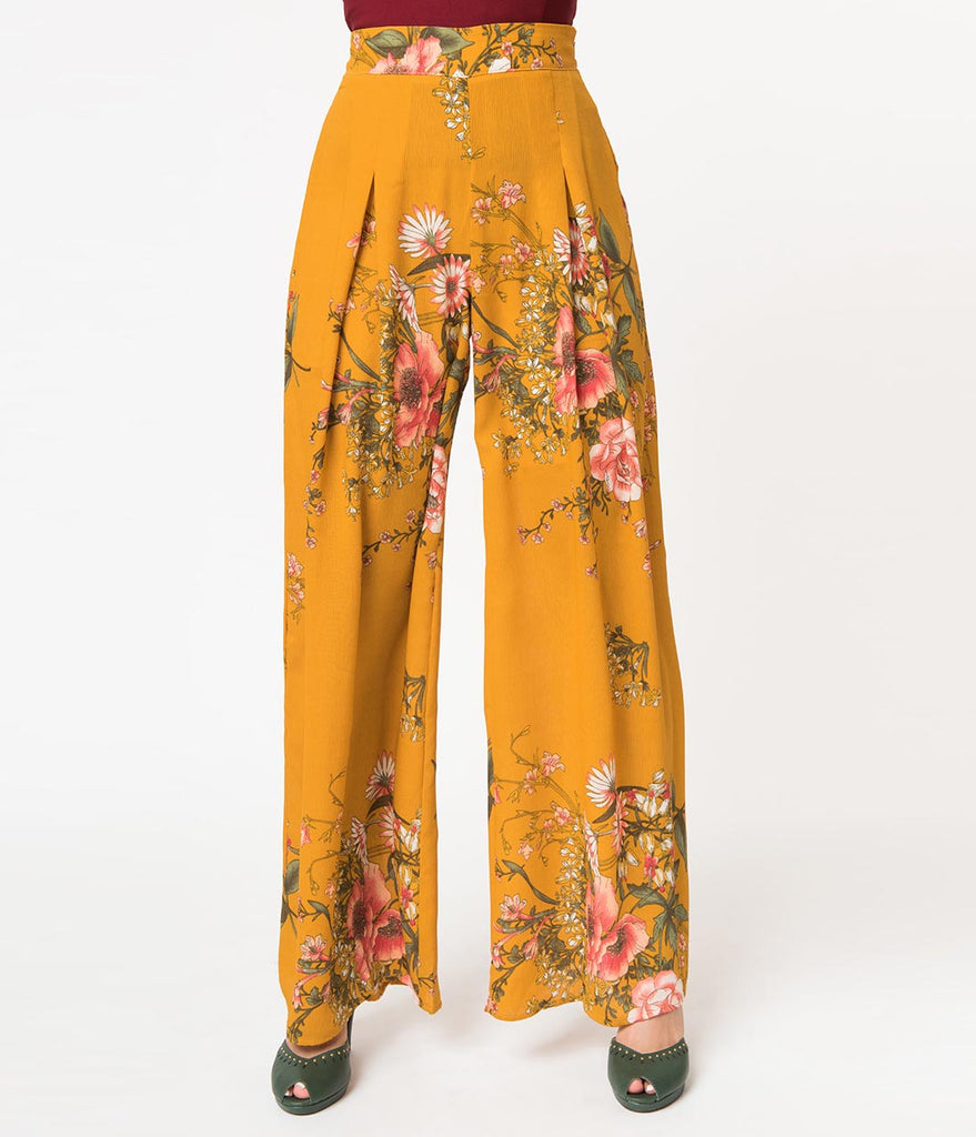 Mustard Yellow Pink Floral Print High Rise Palazzo Pants Unique