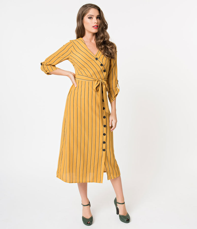 Retro Style Mustard Yellow Striped Button Up Sleeved Midi Dress
