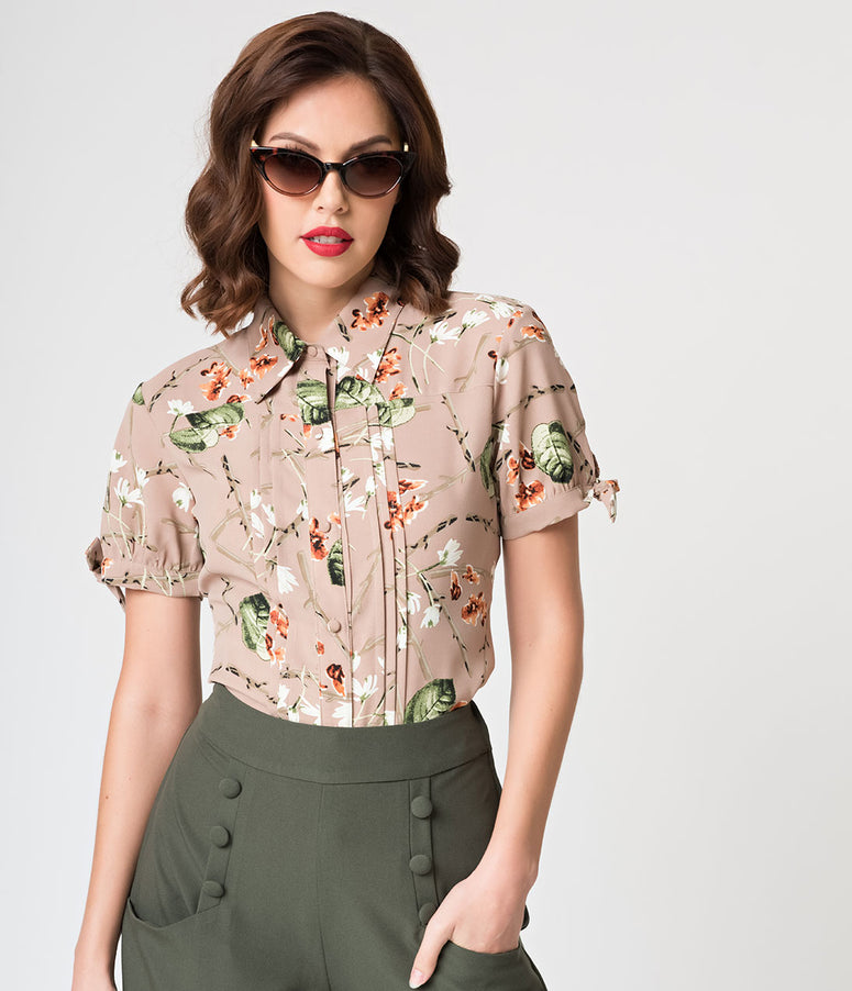 Unique Vintage Brown Floral Button Up Short Sleeve Colvin Blouse