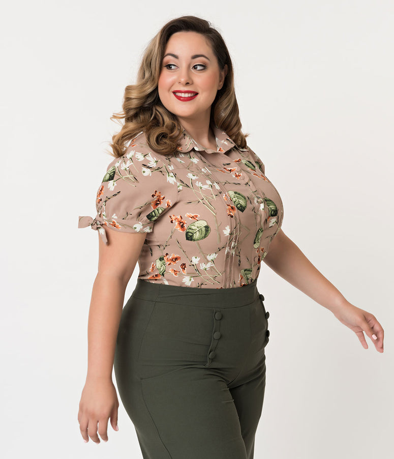 Unique Vintage Plus Size Brown Floral Button Up Short Sleeve Colvin Blouse