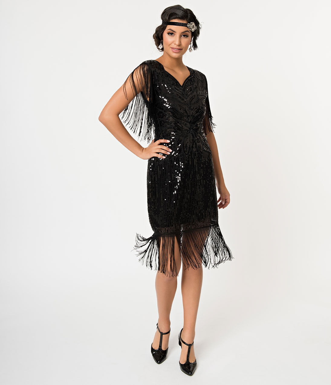 1920s Evening Dresses & Formal Gowns Banned Black Sequin  Fringe Great Gatsby Cocktail Flapper Dress $98.00 AT vintagedancer.com