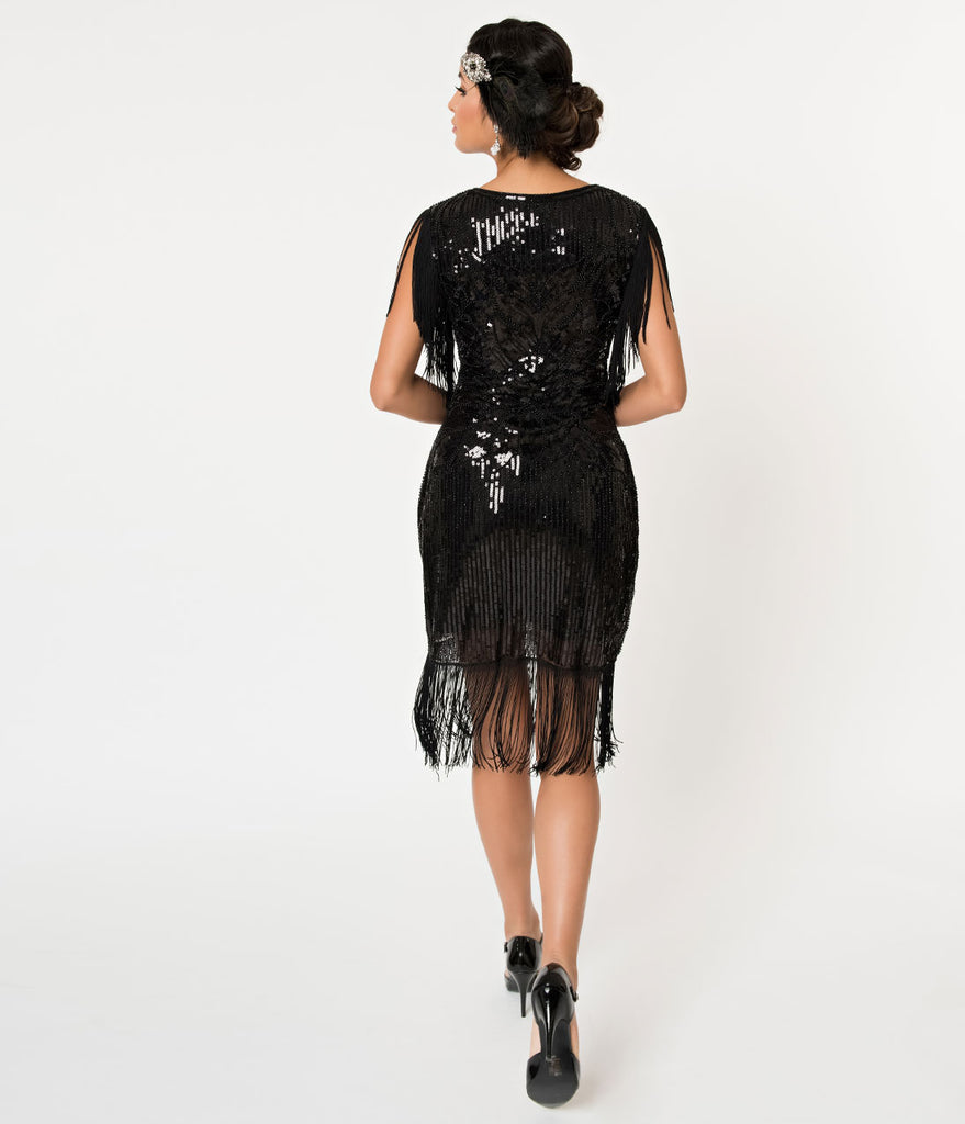 Banned Black Sequin & Fringe Great Gatsby Cocktail Flapper Dress
