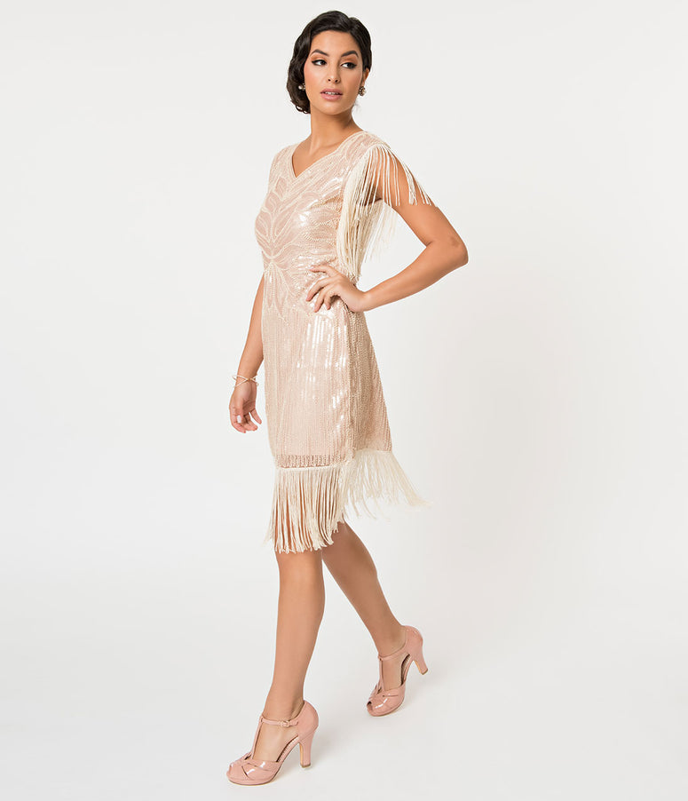 Banned Beige Sequin & Fringe Great Gatsby Cocktail Flapper Dress