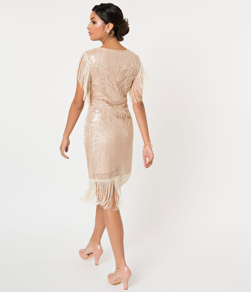 Gatsby Dresses: Beige Sequin & Fringe Great Gatsby Cocktail Flapper Dress