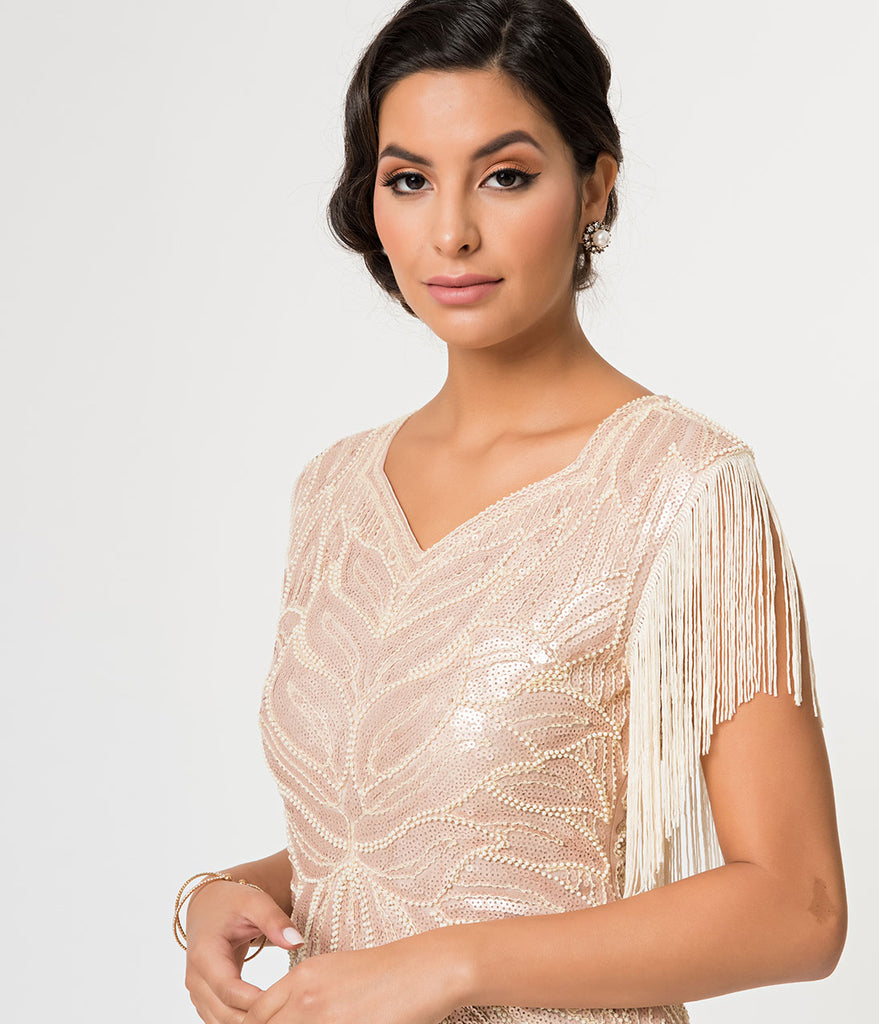 ec1b7950adc Beige Sequin   Fringe Great Gatsby Cocktail Flapper Dress – Unique ...