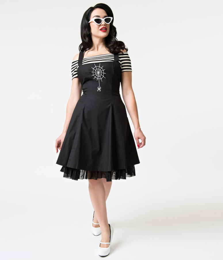 Banned Black Webb Spider Cotton Overall Flare Dress