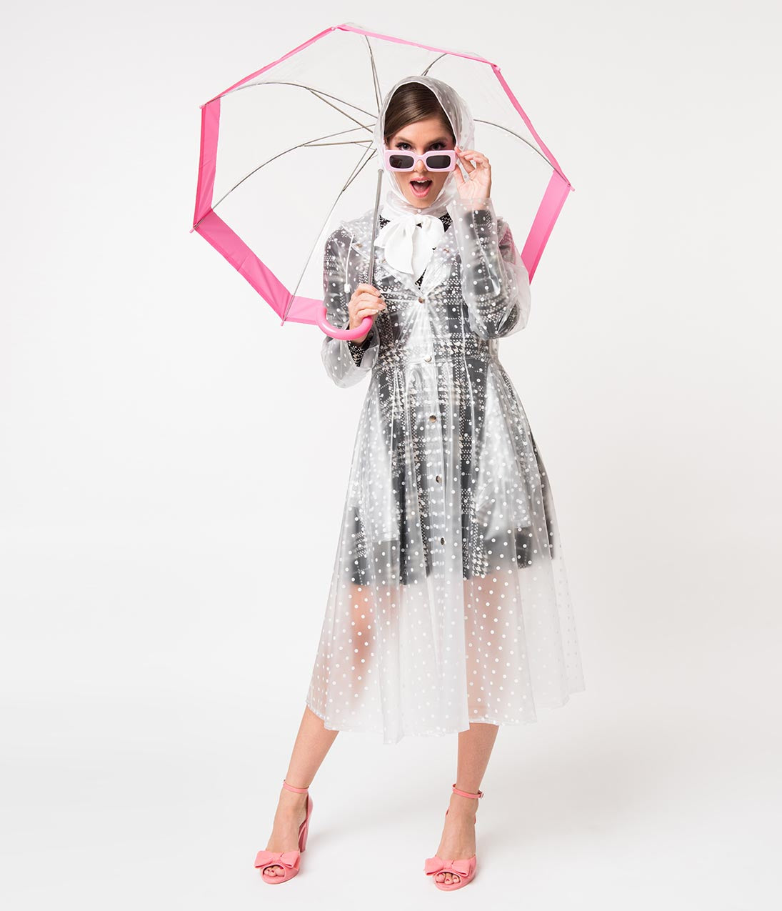 70s Jackets & Hippie Vests, Ponchos Vintage Style Clear  White Polka Dot Long Sleeve Ruby Raincoat $74.00 AT vintagedancer.com