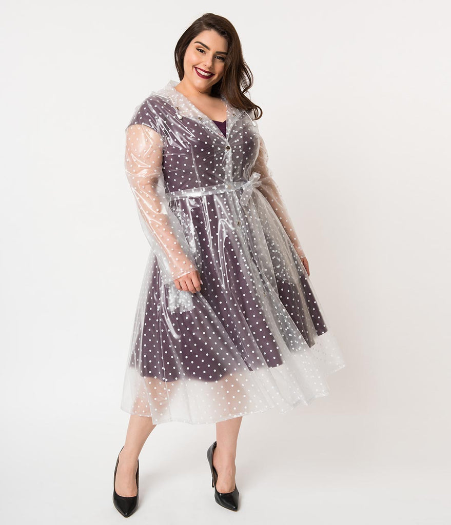 Plus Size Vintage Style Clear & White Polka Dot Long Sleeve Ruby Raincoat