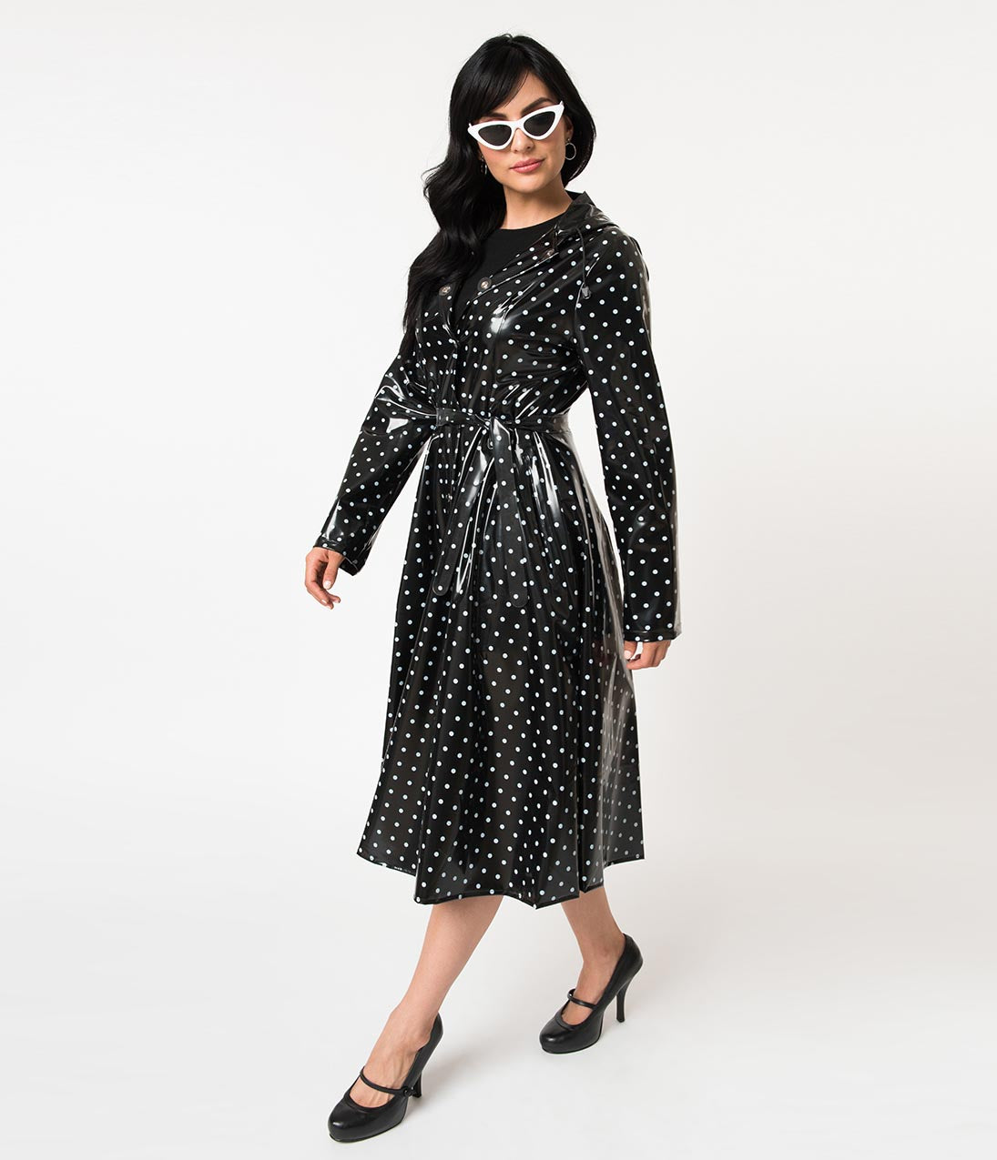 1950s Jackets, Coats, Bolero | Swing, Pin Up, Rockabilly Vintage Style Black  White Polka Dot Long Sleeve Ruby Raincoat $63.00 AT vintagedancer.com
