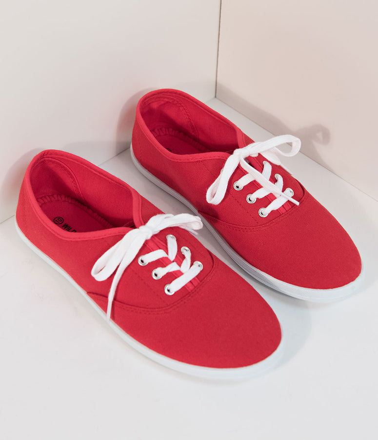 Retro Style Red & White Lace Up Sneaker Flats
