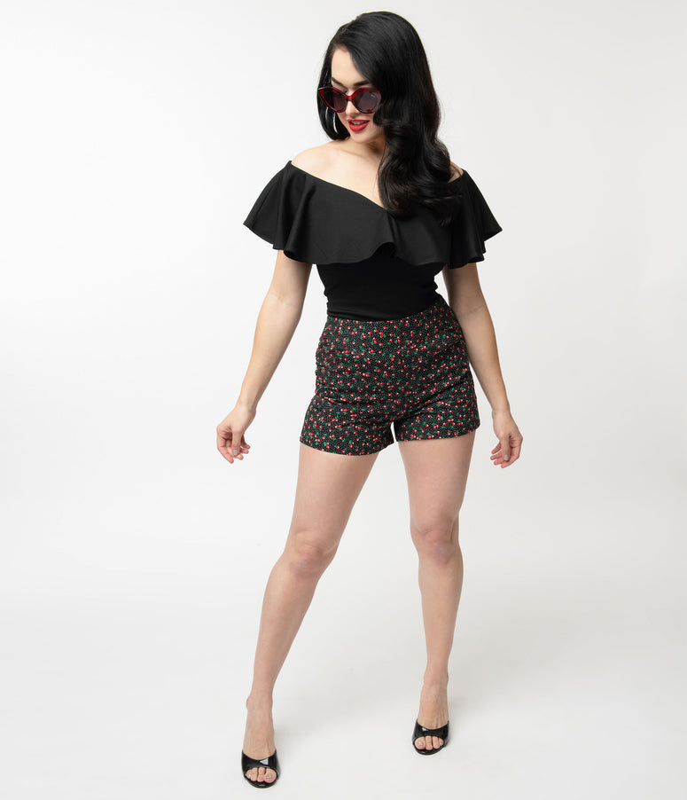 Unique Vintage Black & Red Cherry Print High Waist Sardi Shorts