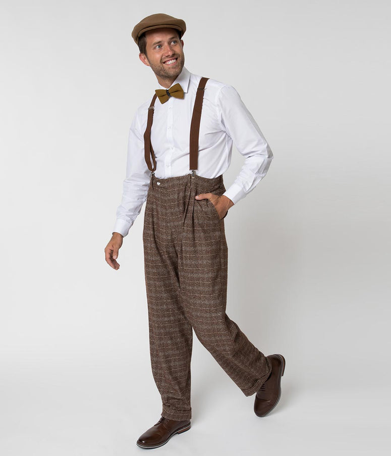 Unique Vintage 1930s Style Brown Checkered Woven Men Pants