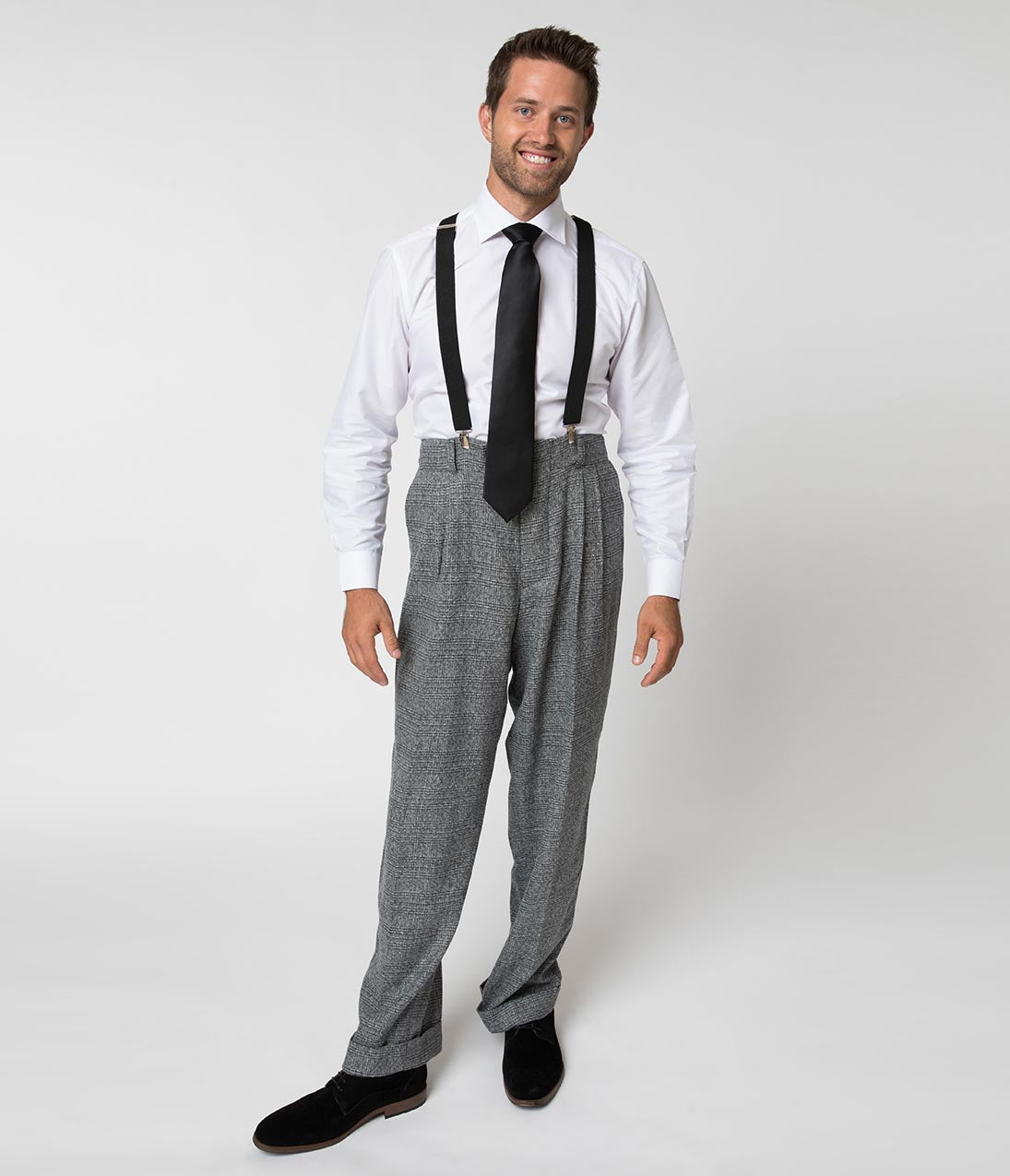1940s Trousers, Mens Wide Leg Pants Unique Vintage 1930S Style Grey Checkered Woven Men Pants $88.00 AT vintagedancer.com