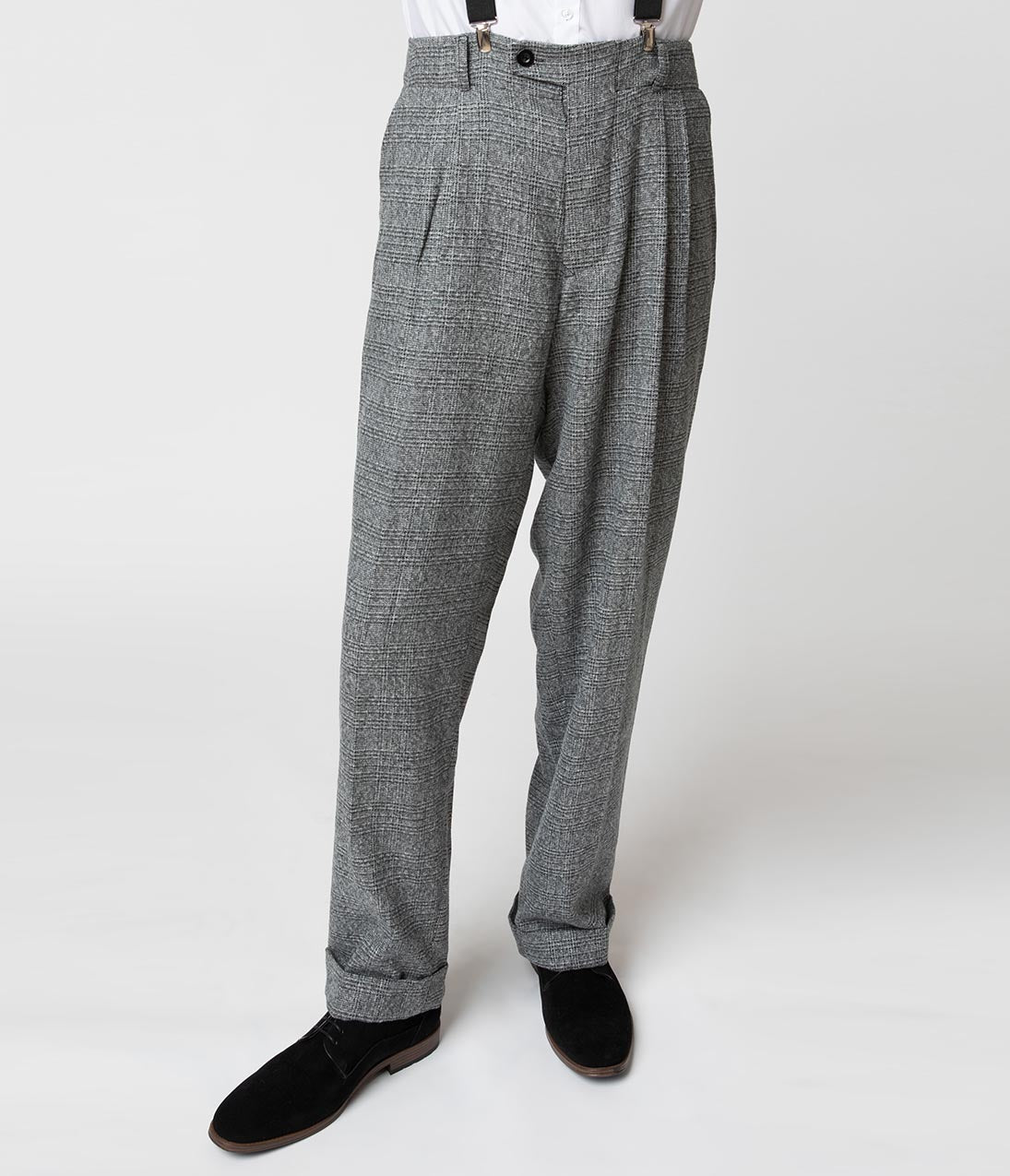 15539108d4d Unique Vintage 1930s Style Grey Checkered Woven Men Pants
