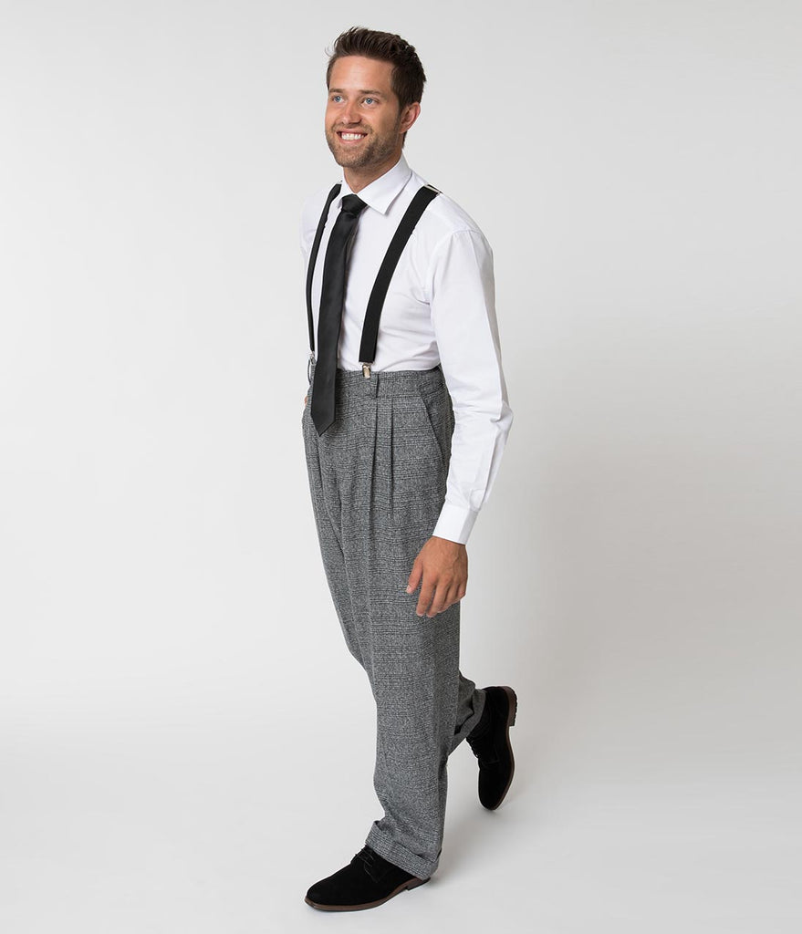 Unique Vintage 1930s Style Grey Checkered Woven Men Pants