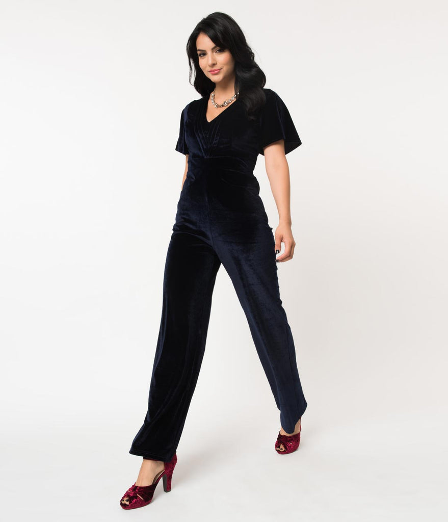 1960s Midnight Blue Velvet Short Sleeve Speakeasy Jumpsuit
