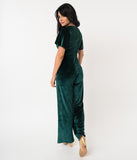 1960s Emerald Green Velvet Short Sleeve Speakeasy Jumpsuit