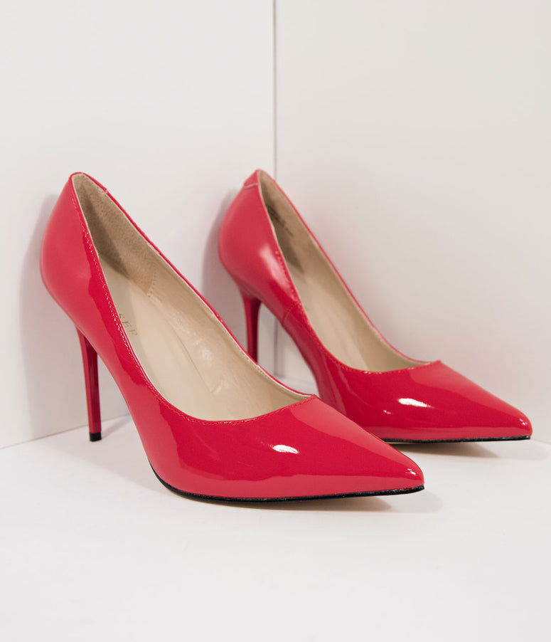 Red Patent Leatherette Pointed Toe Pumps