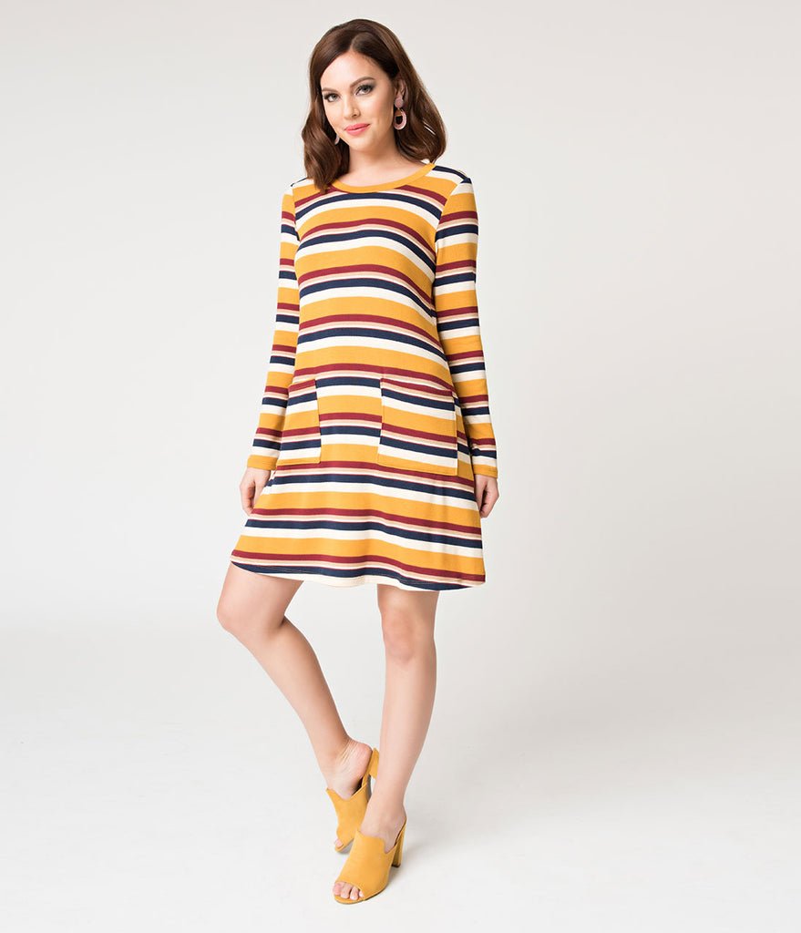 Mustard & Navy Striped Knit Long Sleeve Flare Dress