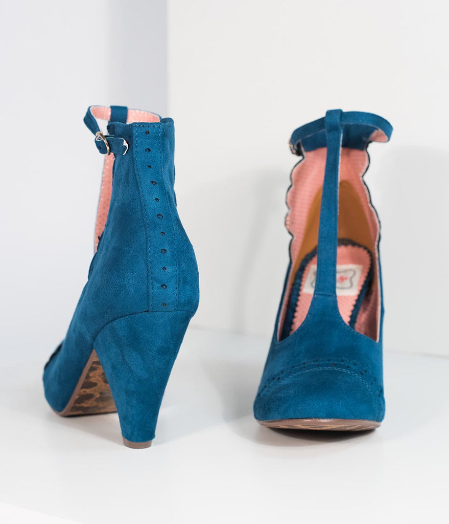 Bettie Page Blue Suede Closed Toe Vio T-Strap Heels