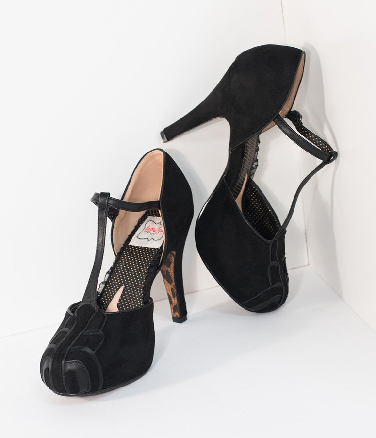 Bettie Page Black Suede T-Strap d'Orsay Emile Heels