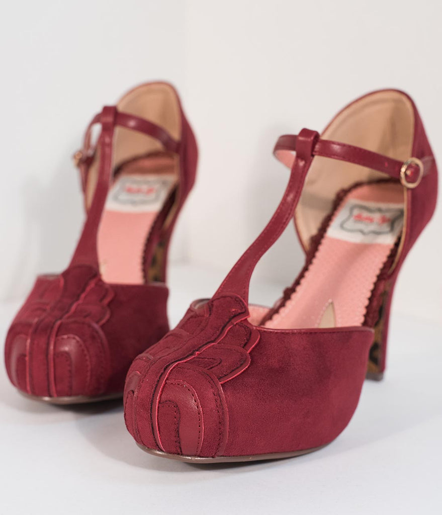 Bettie Page Burgundy Suede T-Strap d'Orsay Emile Heels